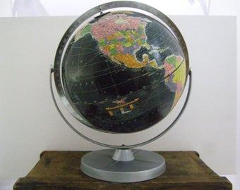 "1950's REPLOGLE Black Oceans 12"" Starlight Globe. Made in the USA. Mad Men Office Decor. Map Atlas Chrome"