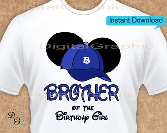 Disney Brother of the Birthday Girl Minnie Earsl - INSTANT DOWNLOAD - Birthday Girl - Minnie Mouse the First Party Favors