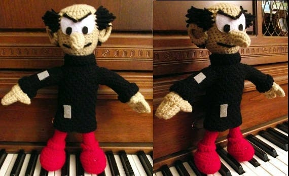 Gargamel, a handmade crochet wizard doll