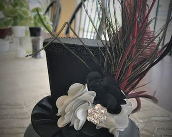 Black Satin Peacock Feather Mini Top Hat.   Great for Birthday Parties, Photo Prop, Bachelorette Party, Girls Night Out and Much More...