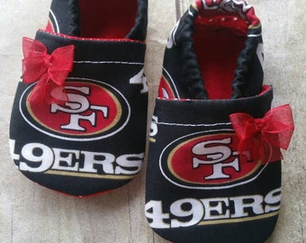 San Francisco 49ers Cloth Baby Booties with bow
