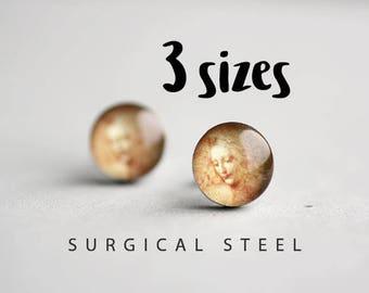 Da Vinci post earrings, Surgical steel studs. Tiny earring studs, Art stud earrings