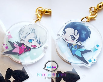 Crystal Clear Acrylic straps charm: Yuri!!! on Ice Yuri Katsuki OR Victor Nikiforov