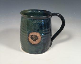 Pottery Mug -handmade Ceramic Coffee Cup - 16 oz - Ready to Ship - Monet Blue Green -seashell stamp  - ceramics - pottery - stoneware