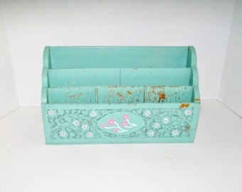 Vintage Desk Organizer Turquoise Hand Crafted Carved Wood Made in India