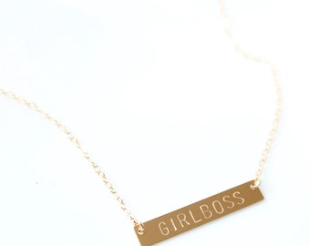 GIRLBOSS Necklace - Stamped Bar Jewelry - 14k gold filled, sterling silver, 14k Rose Gold filled