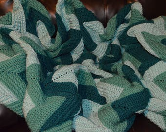Large Crocheted Ripple Afghan in Ocean Tones