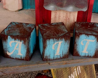FAITH Message blocks 3 1/2 x 3 1/2 inch wood blocks distressed primitive rustic country home decor