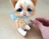 Mika - OOAK, needle felted cat, collectible cat, art cat, artist cat, felt kitten, long haired cat, felt cat, wool felt toy, felted cat