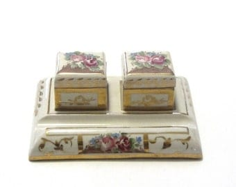 Vintage Porcelain Double Inkwell Desk Set Ink Pot and Pounce Pot With Stand Gold Trim Rose Floral Pen Holder Removable Pots Victorian Desk