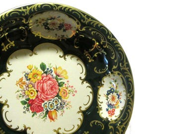 Daher Dark Green and Gold Floral Scalloped Metal Bowl Decorated Ware Made in England