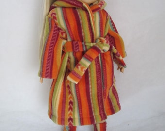 "Striped robe and booties for 18"" doll in Southwest colors  AG type dolls Birthday or Valentine gift"