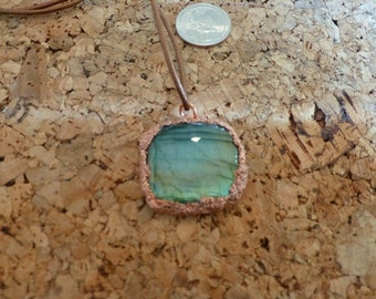 Labradorite Pendant, with leather cord