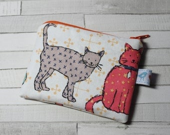 Coin purse, change purse white with colourful cat print, cats, cat purse
