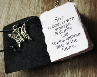 necklace she is clothed with strength and dignity book jewelry for women inspirational quote miniature journal gift for women girls mother