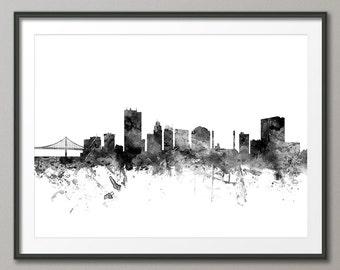 Toledo Skyline, Toledo Ohio Cityscape Art Print (2578)