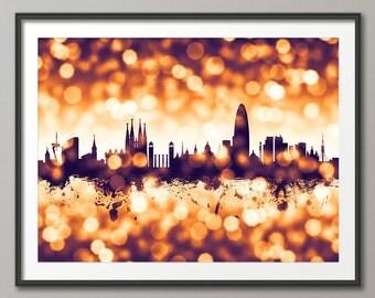 Barcelona Skyline, Barcelona Spain Cityscape Art Print (2614)