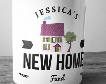 Personalised New Home Fund Ceramic Money Box Piggy Bank Savings Jar Hand Printed xmas christmas house new build renting moving out savimg