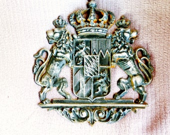 Antique French Cast Iron Heraldry Shield Crown and Lions