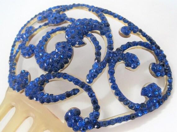 Celluloid  Hair Comb - Bright Blue Rhinestone - Wedding - Hair Adornment