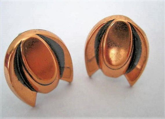 Copper Earrings -  Mid Century Modern - 50's Screw Back Earrings