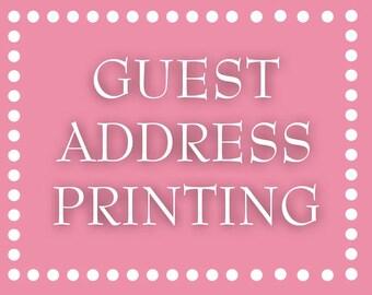 Custom Listing for Erika: Guest Address Printing