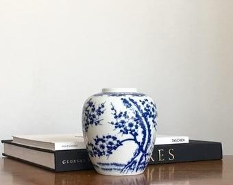 Vintage Blue White Porcelain Vase Japanese Prunus Cherry Blossoms Chinoiserie Chic