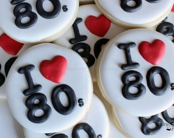 I Heart 80's Cookies, 1980's Cookies, 1980's Party Favors, 1 Dozen Cookies, Cookie Favors, Custom Sugar Cookies