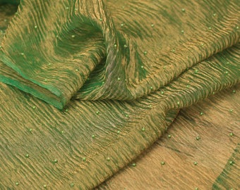 """Silk Organza fabric, green shinny, beaded, beautiful and special 33"""" for Dresses, shirts, scarves, Maxi dresses - by the yard"""
