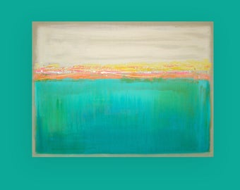 Art, Large Painting, Original Abstract, Acrylic Paintings on Canvas by Ora Birenbaum Titled: Beachy 30x40x1.5""