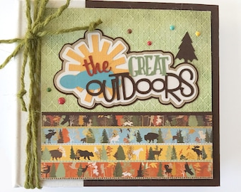 Outdoor Adventure Scrapbook Album Kit or Premade Lake Camping Hiking Mountains Fishing