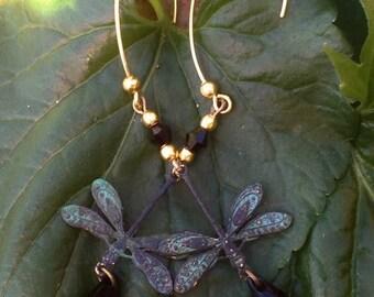 Long Dragonfly Earrings, Beautiful Handmade Dragonfly Earrings,Delicate,Detailed Dragonflies Jet Black Sworvoski Crystals,Unique Gift,OOAK