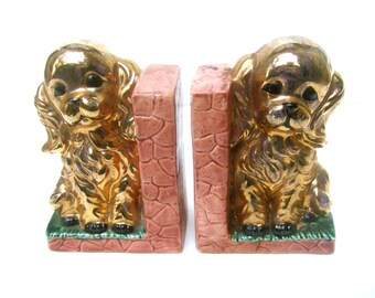Absolutely Adorable Small Ceramic Puppy Bookends