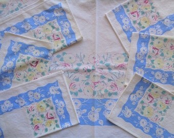 Tablecloth Vintage 1950s Floral Oblong With Six Napkins Cutter Upcycle