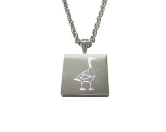 Silver Toned Etched Goose Bird Pendant Necklace