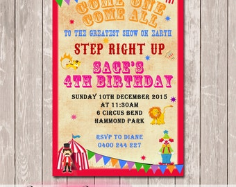 Circus Carnival Personalised Birthday Invitation - YOU PRINT