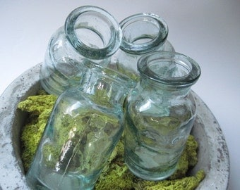 Vintage Set of 4 Pottery Barn Glass Jars Bottles