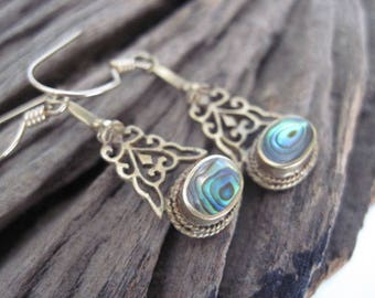 Vintage Brass Filigree and Abalone Delicate Drops
