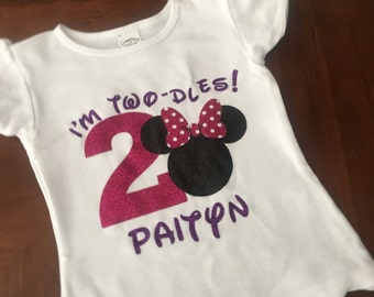 Custom Minnie Mouse Inspired Birthday Shirt - Oh Two-dles Shirt - Girls Birthday Shirt- 2 Year Old Birthday Shirt
