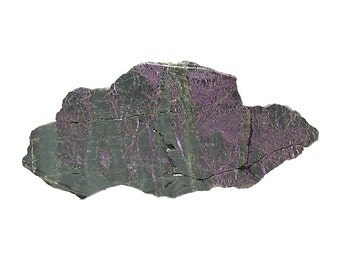 Stichtite Rare Purple Mineral in Green Serpentine Polished Semiprecious Stone Slab Slice African Gemstone from an estate gem rock collection