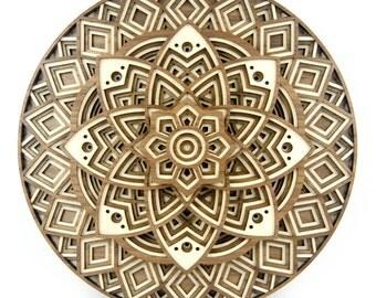 "Layered 3D Wood Art - ""Lotus Mandala"" - 1 of 25 - Unique Laser Cut Art"