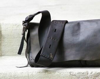 READY TO SHIP Midnight Boho Luxury Leather Handbag, Handmade Black Walnut Leather Bag, Leather Purse