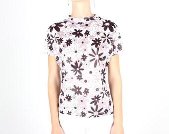 SALE - 90s Babysitters Club Pop Art Cartoon Flower Print Fitted Tee / T Shirt Crop Top