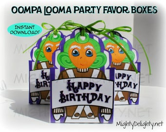 Oompa Loompa Favor Box. Instant Download! Perfect for a Willy Wonka Party!