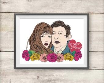 Jane Birkin and Serge Gainsbourg - Je T'aime - Valentine's - Print