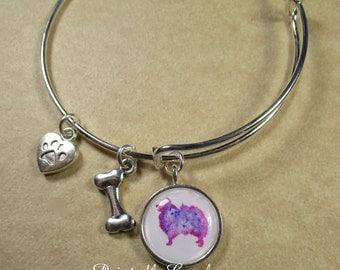 Pomeranian Bangle Bracelet, Pomeranian Jewelry, Pomeranian Bracelet, Pomeranian Bangle Bracelet , Pomeranian Gifts, Pomeranian Expand It