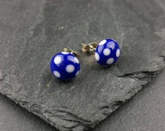 Royal blue and white polka dot lampwork glass stud earrings
