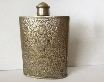 Vintage Hip Flask, Beautifully Decorated Flask.