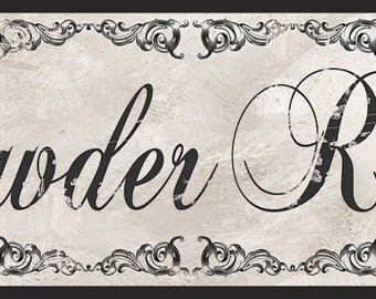 Amazing Powder Room Sign, Victorian Black And White Bathroom Decor,Powder Room  Decor,Vintage