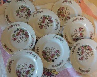 Vintage EIGHT (8) Romantic Small Floral Fruit Plates Czech Porcelain Wedding Table Bridal Luncheon Showers Hostess Gift Tea Party Jewelry